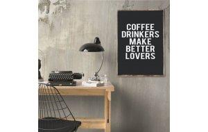 Retro ξύλινο πινακάκι με τα καλά που κάνει ο καφές