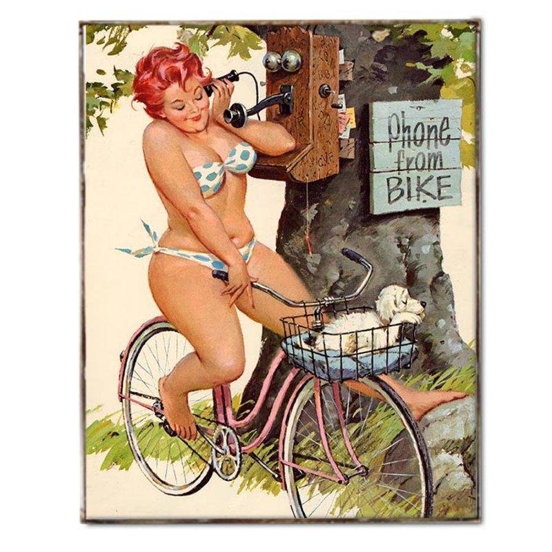 Vintage Χειροποίητο Πινακάκι Pin Up Girl σε Ποδήλατο