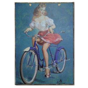 Vintage πίνακας pin up girl σε Ποδήλατο