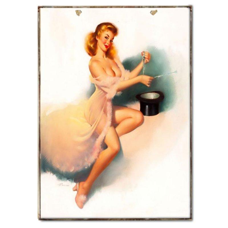 Pin up Girl Vintage Χειροποιήτο Πινακάκι