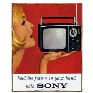 Vintage Χειροποίητο Πινακάκι Διαφήμιση για Τηλεόραση