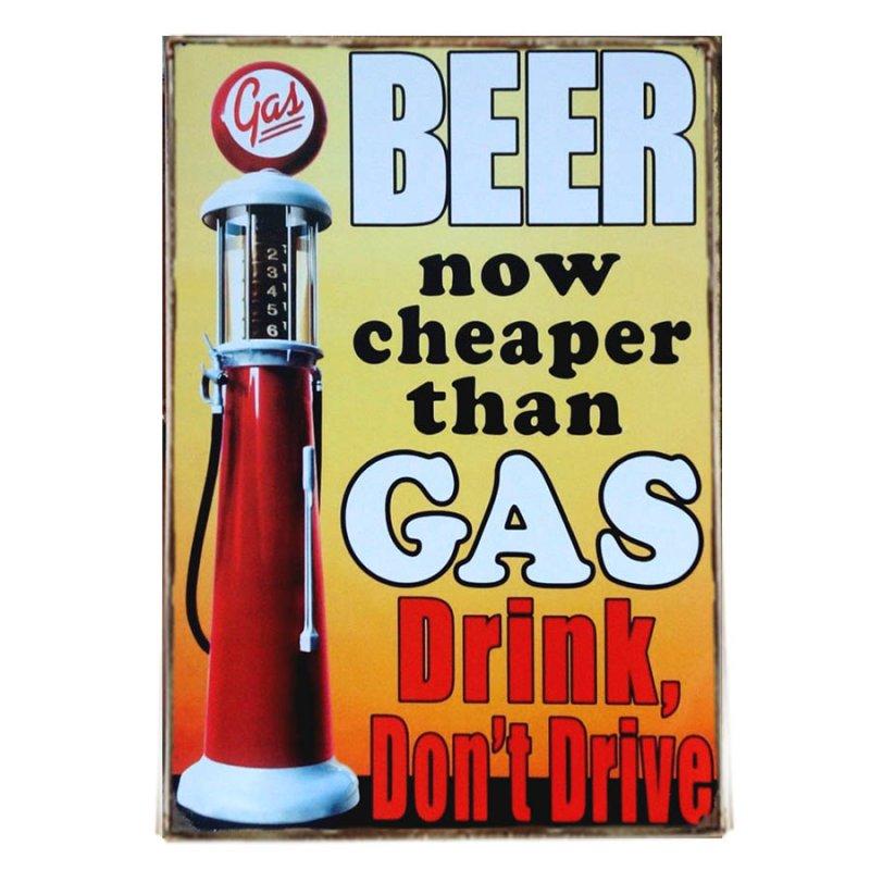 Διακοσμητικό πινακάκι μπύρα Beer cheaper than Gas