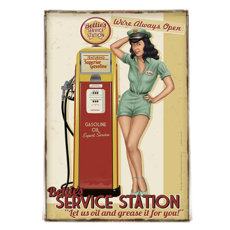 Vintage πινακάκι pin up girl - Service Station