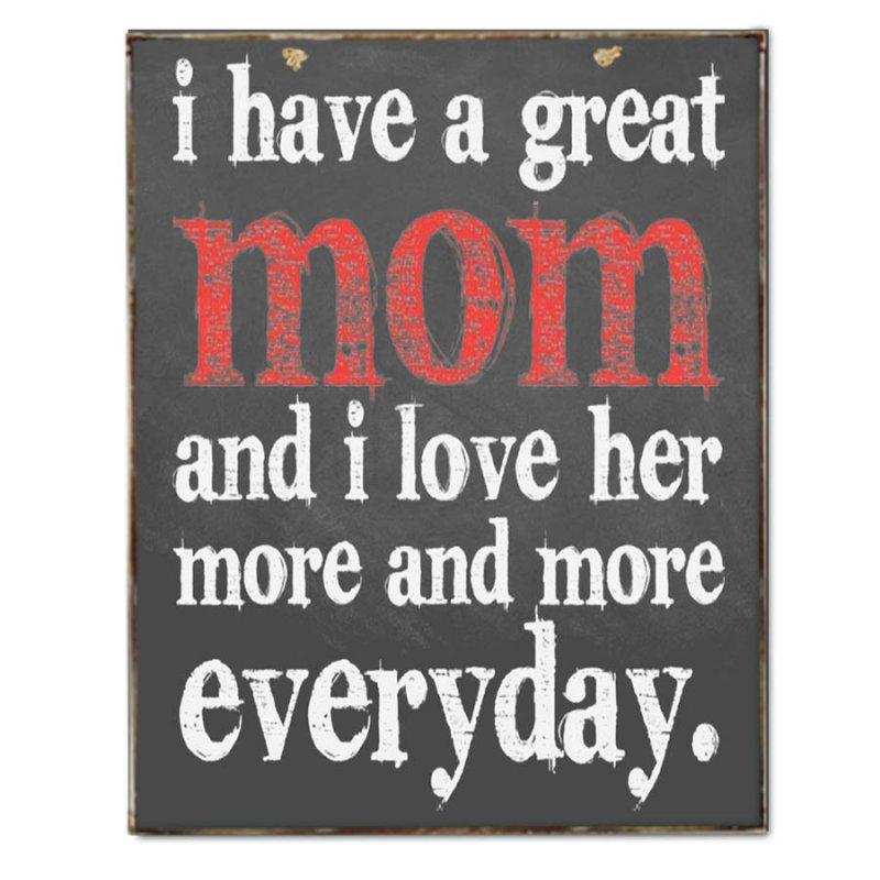 Αγαπώ τη Μαμά κάθε μέρα περισσότερο Vintage Πινακάκι Χειροποίητο