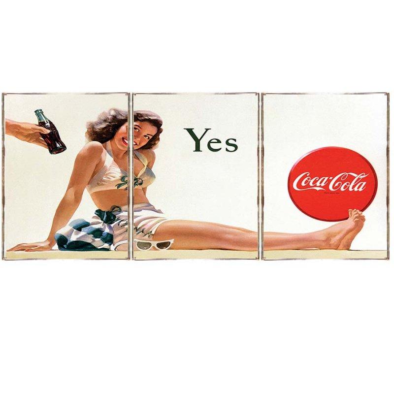 Τρίπτυχος ξύλινος πίνακας χειροποίητος με ρετρό διαφήμιση