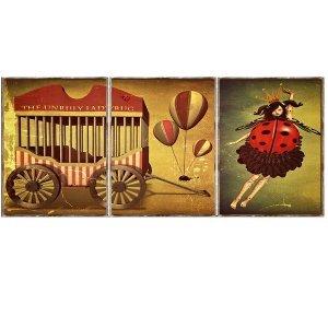 Τρίπτυχος ξύλινος πίνακας χειροποίητος με vintage εικό&n