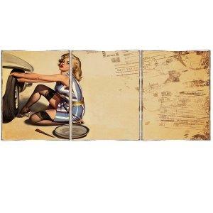 Τρίπτυχος ξύλινος πίνακας χειροποίητος με Pinup Girl Tires Service
