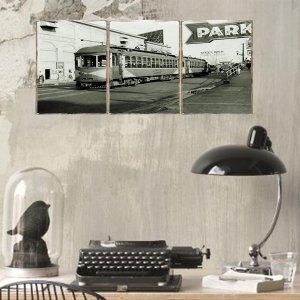 Τρίπτυχος ξύλινος πίνακας χειροποίητος με vintage φωτ&omicron