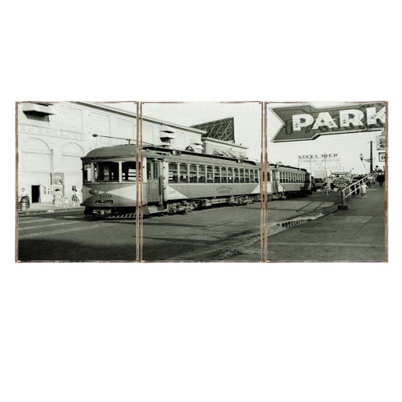 Τρίπτυχος ξύλινος πίνακας χειροποίητος με vintage φωτογραφία τραμ