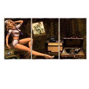 Τρίπτυχος ξύλινος πίνακας χειροποίητος με Pinup Girl Music Room