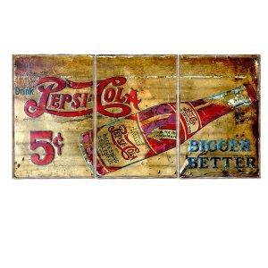 Τρίπτυχος ξύλινος πίνακας χειροποίητος με ρετρό διαφήμιση cola