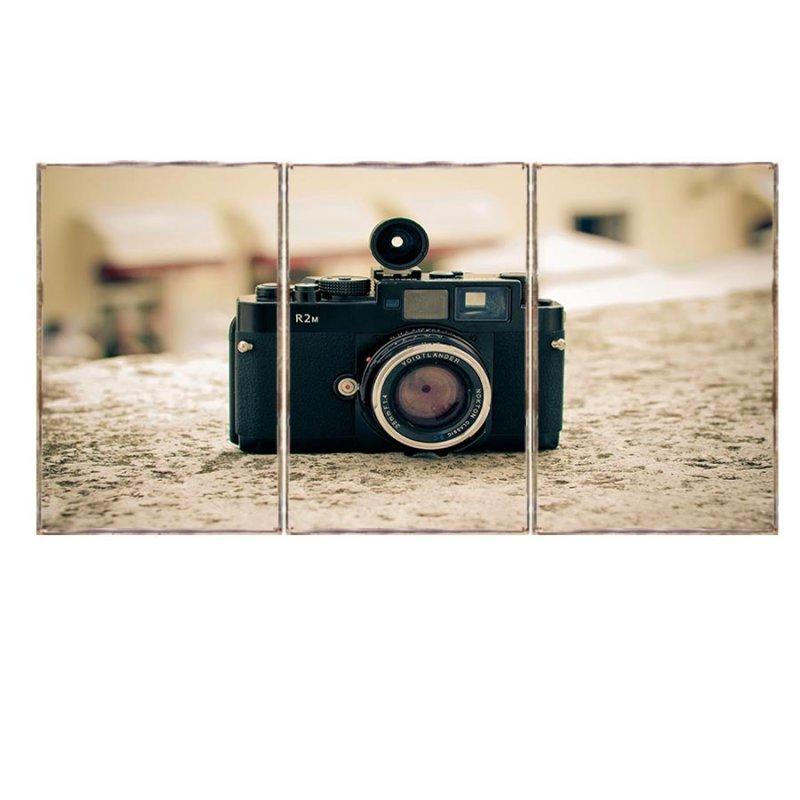 Τρίπτυχος ξύλινος πίνακας χειροποίητος με εικόνα vintage φωτογραφικής μηχανής