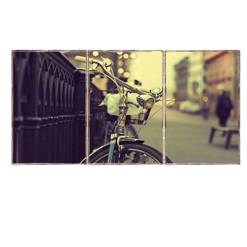 Τρίπτυχος ξύλινος πίνακας χειροποίητος με ρετρό εικόνα ποδηλάτου