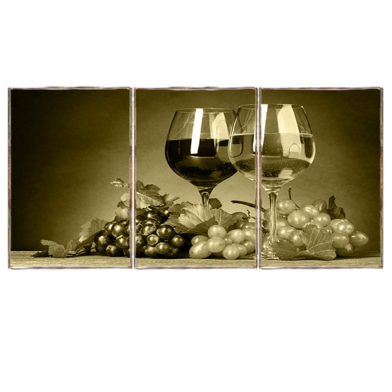 Τρίπτυχος ξύλινος πίνακας χειροποίητος με ρετρό εικόνα Wines