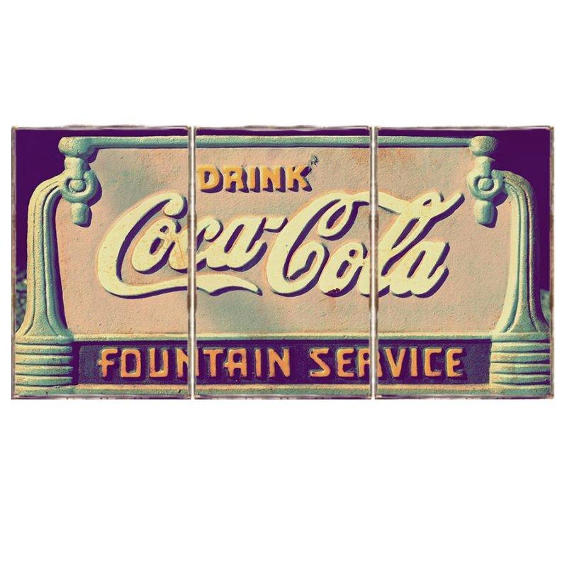 Τρίπτυχος ξύλινος πίνακας χειροποίητος με vintage διαφήμιση