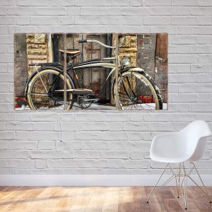 Bicycle Τρίπτυχος ξύλινος πίνακας χειροποίητος