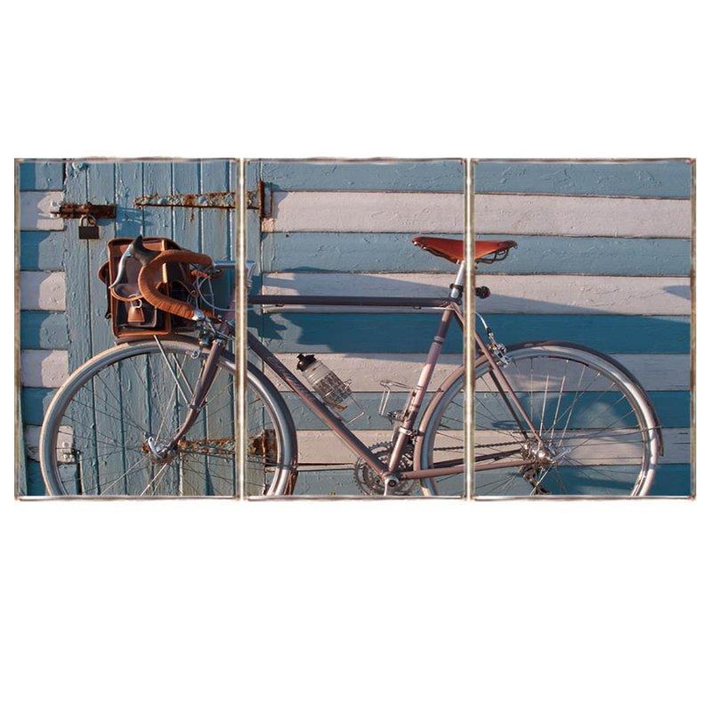 Bicycle at the beach Τρίπτυχος ξύλινος πίνακας χειροποίητος
