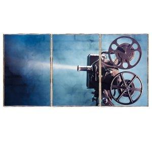 Τρίπτυχος ξύλινος πίνακας χειροποίητος Camera