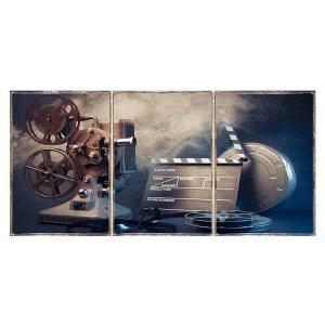 Τρίπτυχος ξύλινος πίνακας χειροποίητος Cinema