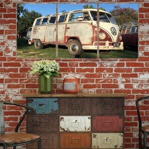 Τρίπτυχος ξύλινος πίνακας χειροποίητος Vintage VW Van