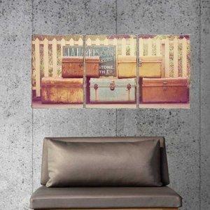 Suitcases Τρίπτυχος Πίνακας  Χειροποίητος - Διαστάσεις ε&o