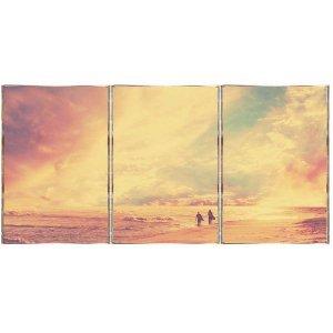 Beach Τρίπτυχος Πίνακας  Χειροποίητος - Διαστάσεις ε&omega