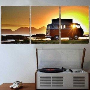 Car Sunset Τρίπτυχος Πίνακας  Χειροποίητος - Διαστάσεις ε&