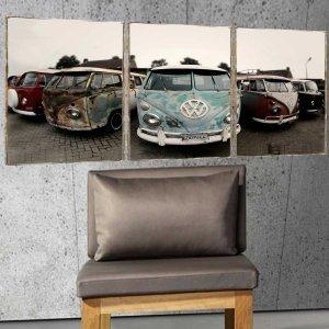 Old Cars Τρίπτυχος Πίνακας  Χειροποίητος - Διαστάσεις ε&om