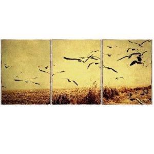 Birds Τρίπτυχος Πίνακας  Χειροποίητος - Διαστάσεις εως και  48x96 cm