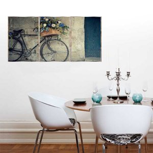Romantic Bike Τρίπτυχος Πίνακας  Χειροποίητος - Διαστάσεις &epsilo
