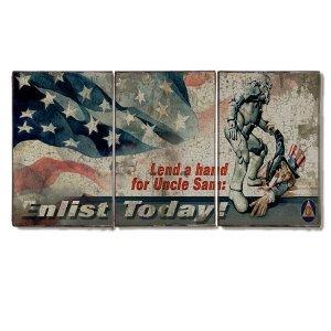 Τρίπτυχος ξύλινος πίνακας χειροποίητος Uncle Sam
