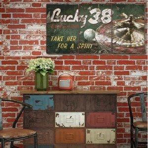Τρίπτυχος ξύλινος πίνακας χειροποίητος Lucky 38