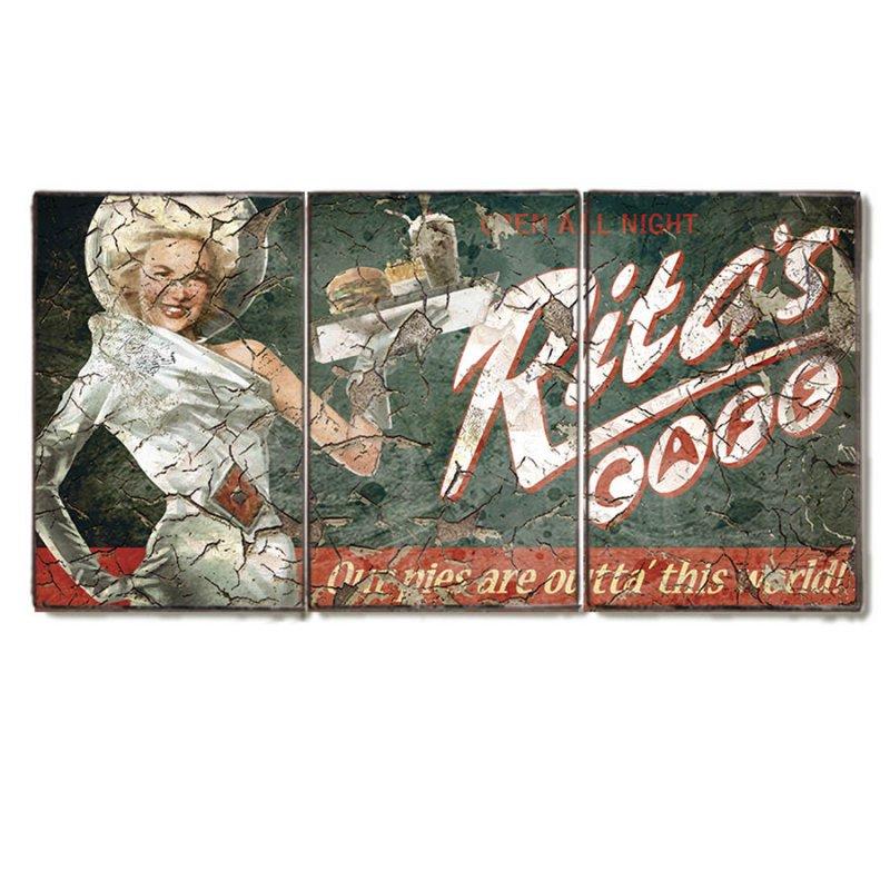 Τρίπτυχος ξύλινος πίνακας χειροποίητος με ρετρό διαφήμιση Rita's Café