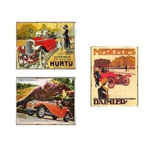 Cars Vintage Σετ απο Ξύλινους Πίνακες 20x25cm S/3 τεμ.