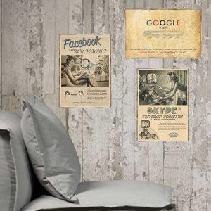Vintage Internet Vintage Σετ απο Ξύλινους Πίνακες 20x30cm S/3 τεμ.