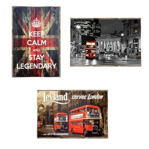 United Kingdom Vintage Σετ απο Ξύλινους Πίνακες 20x30cm S/3 τεμ.