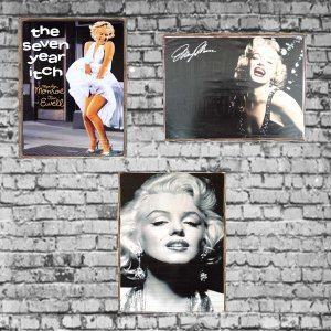 Marilyn Monroe Vintage Σετ απο Ξύλινους Πίνακες 20x30cm S/3 τεμ.