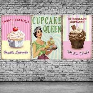 Cupcakes Vintage Σετ απο Ξύλινους Πίνακες 20x30cm S/3 τεμ.