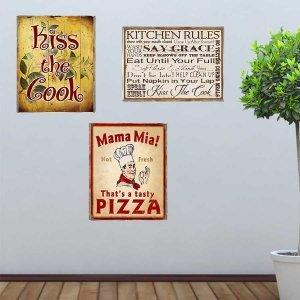 Kitchen and Cook Vintage Σετ απο Ξύλινους Πίνακες 20x30cm S/3 τεμ.