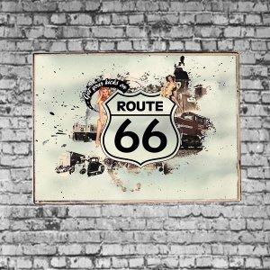 Route 66Vintage Σετ απο Ξύλινους Πίνακες 20x30cm S/3 τεμ.
