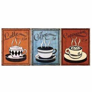 Coffee Vintage Σετ απο Ξύλινους Πίνακες 20x25cm S/3 τεμ.