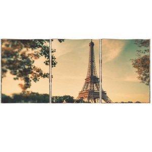 Paris Retro Τρίπτυχος Πίνακας  Χειροποίητος - Διαστάσεις ε