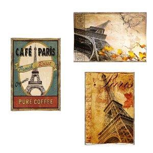 Paris Vintage Σετ απο Ξύλινους Πίνακες 20x30cm S/3 τεμ.