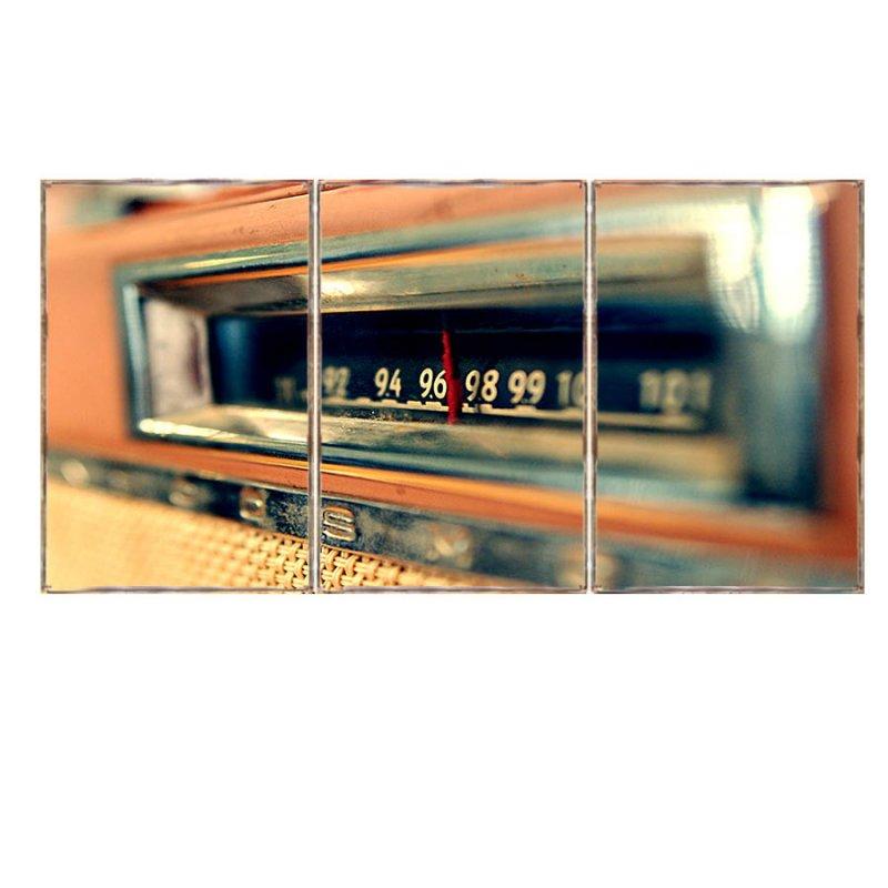 Τρίπτυχος ξύλινος πίνακας χειροποίητος με εικόνα vintage ραδιοφώνου