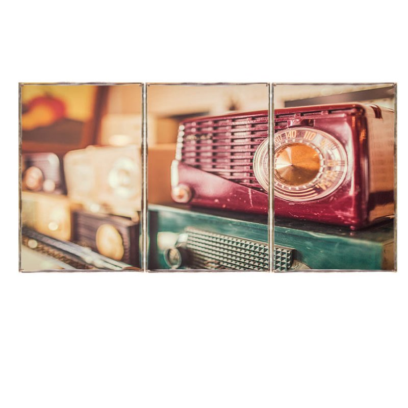 Τρίπτυχος ξύλινος πίνακας χειροποίητος με vintage ραδιόφωνα