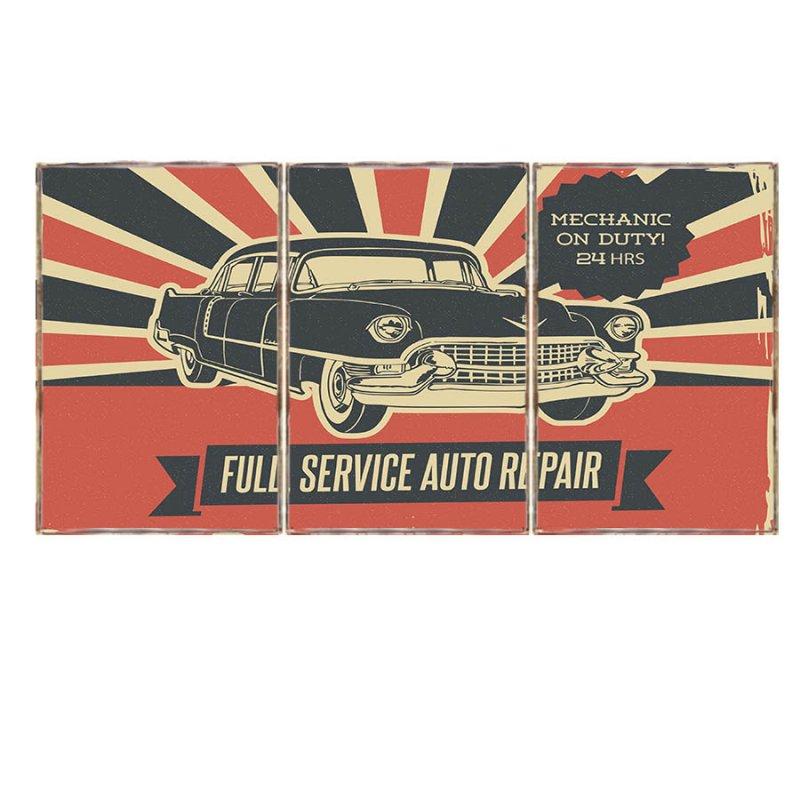 Τρίπτυχος ξύλινος πίνακας χειροποίητος με διαφήμιση συνεργείου