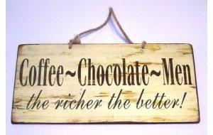 Vintage Πινακάκι με μήνυμα  Coffee - Chocolate - Men