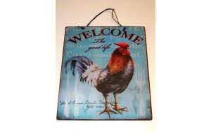 Χειροποίητο Διακοσμητικό Πινακάκι με κότα Welcome