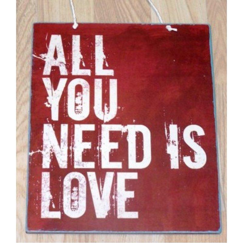 Πίνακας Χειροποίητος κόκκινο All you Need is Love 20x25 εκ
