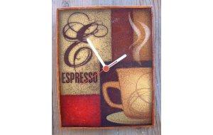 Coffee Time - Ξύλινο ρολόι τοίχου χειροποίητο